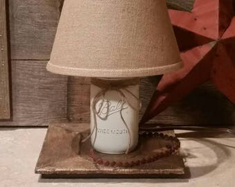 Mason Jar Lamp, Rustic Country Lamp, White Mason Jar Lamp, Canning Jar Lamp, Farmhouse Lamp, Nursery Lamp, Mason Jar Lighting, Mason Decor