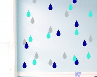 Raindrop Wall Decals. Geometric Wall Decor. Blue Vinyl Decals. Wall Decal. Living room wall decal. Wall sticker. Nursery Decor.