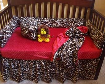 Giraffe Print Baby Bedding Set Safari Crib Bedding