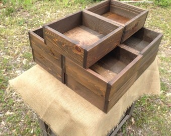 "Set of Ten 12"" x 12"" Rustic Wedding Centerpiece Flower Boxes, Table Centerpiece, Wood Flower Boxes"