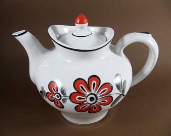 Beautiful Vintage Hand-Painted Porcelain Teapot, Orange & Black Flowers