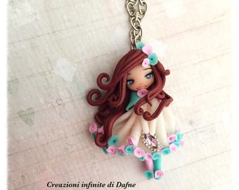 Ooak Doll shabby Rose necklace