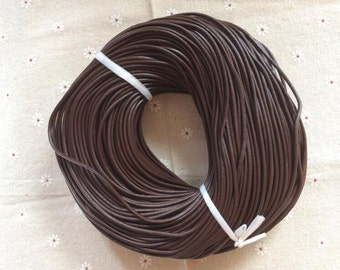 16 Feet x 2.5 mm diameter dark brown real leather cord/strand/string --C076