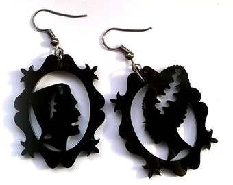 Gothic Frankenstein and bride of frankenstein earrings Jewellery Jewelry Gift