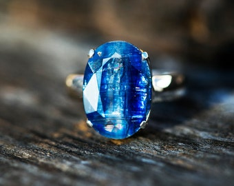 Kyanite Ring Size 8 - Kyanite & Sterling Silver Ring - Kyanite Jewelry - Kyanite Ring Size 8 - Blue Kyanite - Kyanite Jewelry Blue Gemstone
