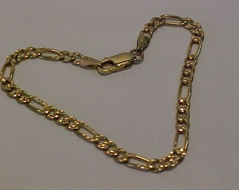 10k yellow gold Italian made Bracelet-7 1/8 inches long-Lobster claw closure