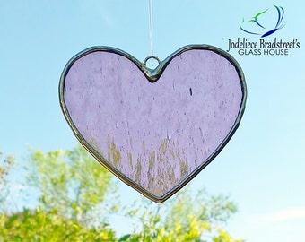 Pink Heart Suncatcher Stained Glass Sun Catcher Tiffany Glass Heart Home Decor Window Decoration Pink Suncatcher Valentine Gift for Her