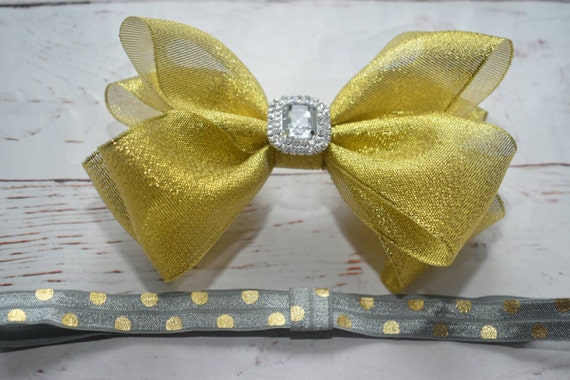 Gold and silver bow - Baby / Toddler / Girls / Kids Elastic Hairclip / Hair Barrette / Hairband / Headband