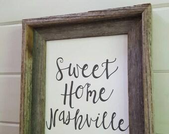 Farmhouse Art- Sweet Home Nashville Barnwood Framed Art