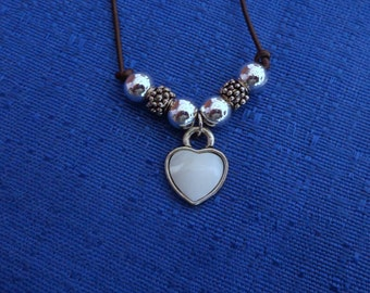 Sale Handmade White Heart Leather Necklace, Heart Silver Necklace, Valentines Necklace