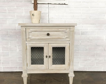 AVAILABLE: Grey Painted Nightstand