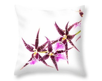 Purple Orchids on White Blooming Indoor Flowers Throw Pillow Cover, Botanical Photo Art Outfoor Cushion, White Pillow, Decorative Pillow