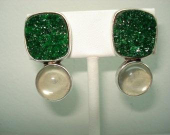 The Dreamer Sterling Silver Green Druzy Quartz Moonstone Pierced Earrings
