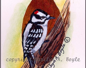 ORIGINAL HAND Painted ACEO with a downy woodpecker on a real leaf, smooth card stock, 2.5 x 3.5 inches