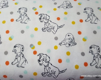 Character Flannel Fabric - 101 Dalmations and Dots - 1 yard - 100% Cotton Flannel