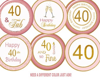 40th Birthday Cupcake Toppers,  40th cupcake toppers polka dot 40th favor tag 40th party 40black 50th 60th 80th printable digital