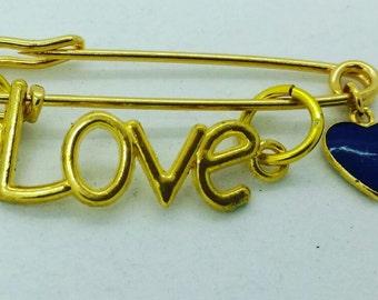 love safety pin, heart safety pin, love brooch, safety pin jewelry, gold love safety pin, gold love heart safety pin, evil eye pin