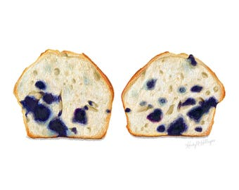 Blueberry Muffin Cross-section // Food Illustration // Art Print // Watercolor, pastry, blue, bakery
