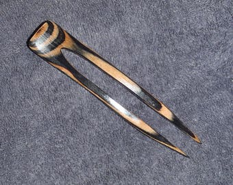 2 prong wooden hair fork 5 inches long, hand shaped of Tabby Cat colored resin hardwood, diamond Ply