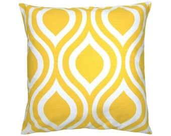 Pillowcase EMILY yellow white 50 x 50 cm retro line optics