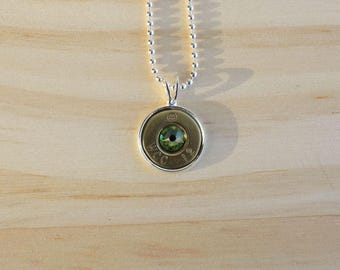 308 Caliber Brass Bullet Case Charm Necklace Peridot-N-019