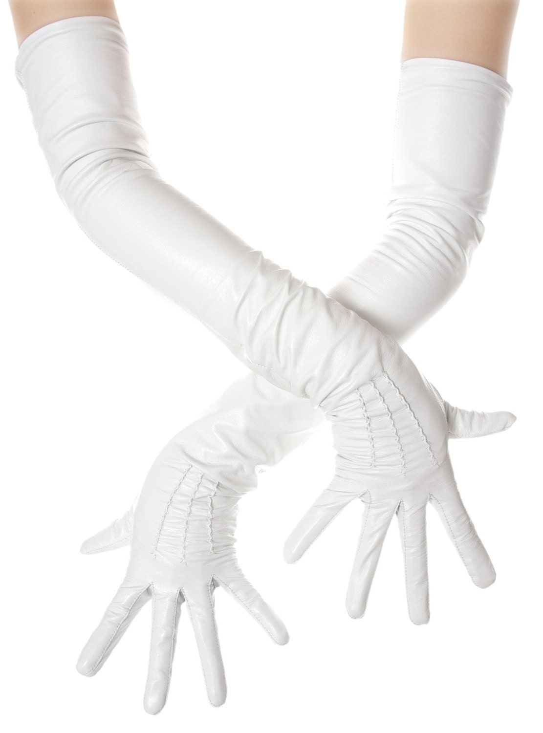 Long White Opera Leather Gloves