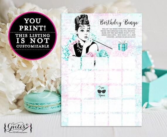 "Birthday Bingo Cards, birthday girl bingo printable games, breakfast at blue co bingo games, blue Audrey Hepburn 5x7"" 2/Per Sheet."