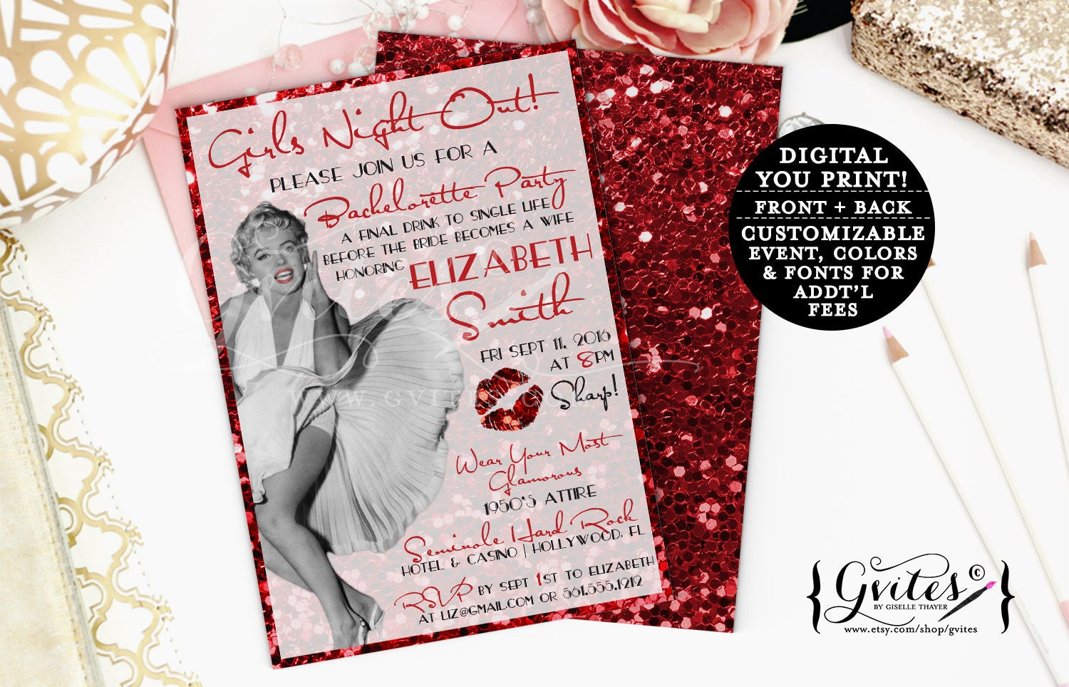 Gmail old theme - Marilyn Monroe Invitations Girls Night Out Invites Bachelorette Printable 1950 S Theme Old Hollywood Style Glitter Gold And Red Retro