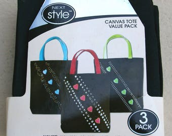 Black Canvas Tote Bags to Decorate and Embellish * Pack of 3
