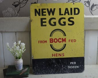 Rare Vintage Fresh Eggs Sign- Original Tin