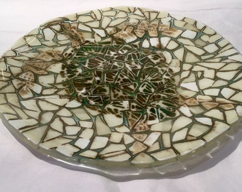 Fused glass turtle platter
