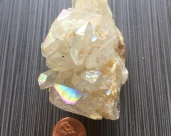 "Angel Aura Quartz Cluster Divine Healing Gold Treated 3"" 130g rf0106-1"
