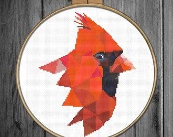 Christmas cross stitch pattern, cross stitch PDF - instant download - cross stitch Xmas pattern - cross stitch pattern modern - Cardinal
