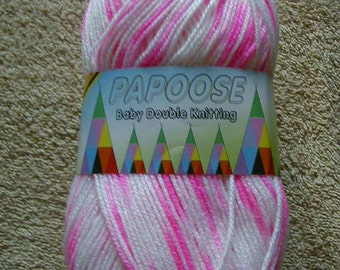 100g Of Papoose Baby DK  Knitting Wool Colour Candy & White Mix
