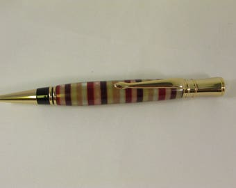 Handmade Executive Pen with 24 Kt Gold plated hardware(Circular, White,Brown,Red and Bronze stripped acrylic blank) includes Gift Box