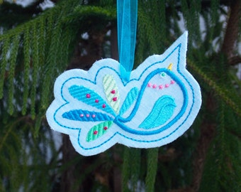 Christmas ~ Holiday ~Gift ~ Wreath ~ Easter Ornament Machine Embroidered Appliqued Bird on Reclaimed Linen in Turquoise & Greens