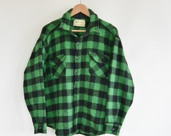 Melton Outer-Wear Buffalo Plaid Heavy Wool Shirt/Jacket Green Black Check 1960's Era Size Large