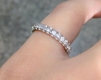 14K White Sapphire Eternity Band 3mm Pave Sapphire Matching Eternity Band 14K Full Eternity Wedding Ring Sapphire Birthstone Stacking Ring
