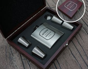 Personalized Groomsman Flask Gift Set in Rosewood Case with Wedding Monogram Design Options (Each) Engraved Wood & Stainless Steel