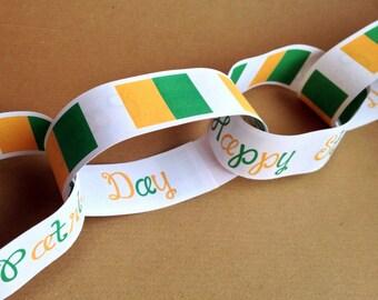 ST.PATRICK'S DAY Party Paper Chain Garland Decoration Shamrock Ireland Green