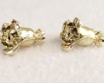 Vintage Gold Tone Clip On Earrings  Rose