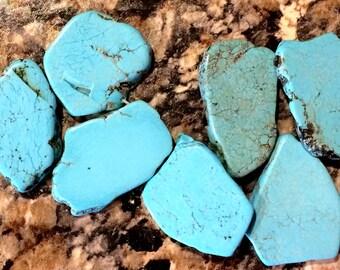 "30 - 38 mm Blue Turquoise Freeform Slab Beads 8"" Strand"