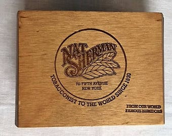 WOOD CIGAR BOX. Nat Sherman. Made in Guatamala. Rounded sides and embossed.