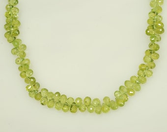 "3x4mm Faceted Peridot Teardrop Shape Briolette 55ct., 10"" long"