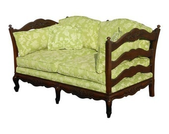 Vintage French Country Lime Green Floral Design Carved Wood SETTEE Loveseat