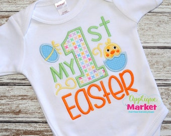 Personalized My 1st Easter Applique Shirt or Onesie Girl or Boy