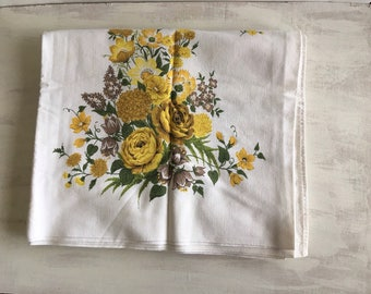 Vintage Yellow Flowers on White Kitchen Tablecloth