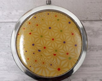 Compact Pocket Mirror Yellow Gold Chiyogami Japanese Favour Favor Unique Gift