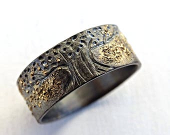 unique tree of life ring black silver 14k gold viking ring yggdrasil ring celtic - Norse Wedding Rings