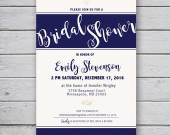Nautical Navy Bridal Shower Invitation {INSTANT Digital Download}